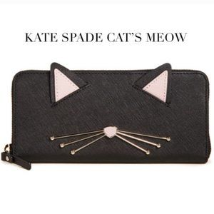 kate spade cat's meow lindsey black leather wallet